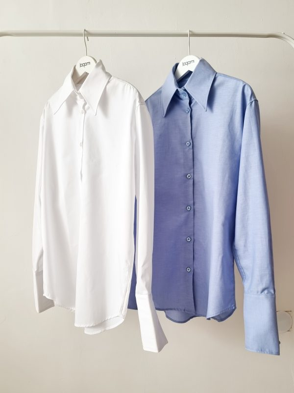 white and blue shirt